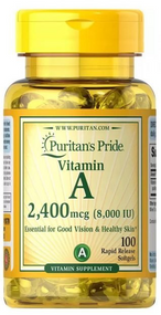 Puritan's Pride Vitamin A 8,000 IU (2,400 mcg) - 100 Rapid Softgels Buy online in Pakistan on Saloni.pk
