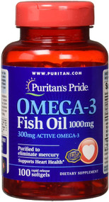 Puritan's Pride Omega-3 Fish Oil 1000 mg (300 mg Active Omega-3) - 100 Softgels Buy online in Pakistan on Saloni.pk