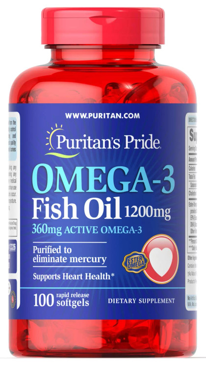 Puritan's Pride Omega-3 Fish Oil 1200 mg (360 mg Active Omega-3) - 100 Rapid Release Softgels Buy online in Pakistan on Saloni.pk