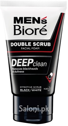 Men's Biore Black & White Double Scrub Facial Foam 100 Grams