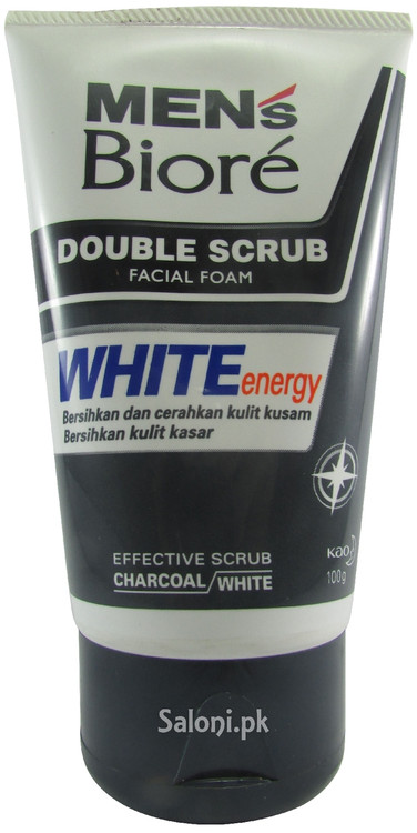 Men's Biore Double Scrub White Energy Facial Foam Front