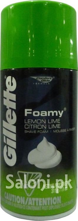 Gillette Foamy Lemon Lime Shave Foam (Front)