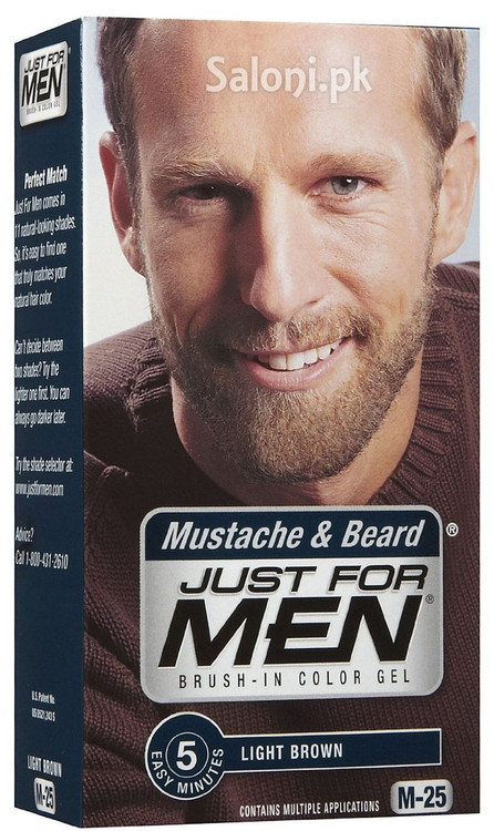 Just For Men Brush-In Color Mustache & Beard Gel Light Brown M-25 ...