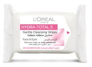L'Oreal Paris Hydra Total 5 Gentle Cleansing Wipes (Dry & Sensitive Skin)
