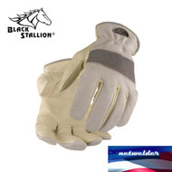 BLACK STALLION Grain Cowhide Palm w/ KnuckleFlex  Driver's Gloves 97F