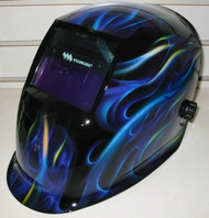 Weldmark Variable Shade Auto-Darkening Welding Helmet - BLUE FLAMES  BF8VS9-13