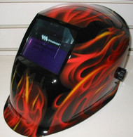 Weldmark Variable Shade Auto-Darkening Welding Helmet - RED FLAMES  RF8VS9-13
