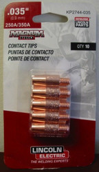 "Lincoln Electric Magnum Pro Contact Tips .035"" 250A/350A - qty10 - KP2744-035"