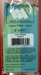 """SHADE 4 -  2"""" x 4-1/4"""" Glass Welding Helmet Filter Lens"""