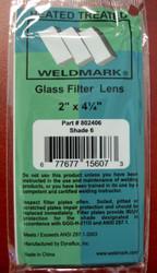 """SHADE 6 -  2"""" x 4-1/4"""" Glass Welding Helmet Filter Lens"""