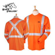 Black Stallion FR Cotton T-Shirt - Limited Wash Safety Orange Long Sleeve
