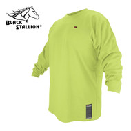 Black Stallion FR Cotton T-Shirt - Lime Green Long Sleeve FTL6-LIM
