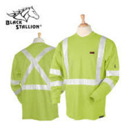 Black Stallion FR Cotton T-Shirt - Limited Wash Lime Green Long Sleeve w/ Reflective