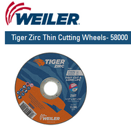 "Weiler Tiger Zirc Thin Cutting Wheels 4-1/2"" x .045"" 25/pk  58000"