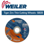 "Weiler Tiger Zirc Thin Cutting Wheels 4-1/2"" x .045"" 25/pk  58020"
