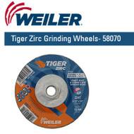 """Weiler Tiger Zirc Grinding Wheels 4-1/2"""" x 1/4"""" 10/pk 58070"""