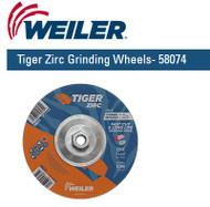 """Weiler Tiger Zirc Grinding Wheels 7"""" x 1/4"""" 10/pk 58074"""