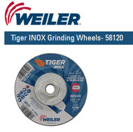 "Weiler Tiger INOX Grinding Wheels  4-1/2"" x 1/4"" 10/pk 58120"