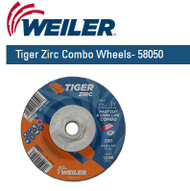 "Weiler Tiger Zirc Combo Wheels  4-1/2"" x 1/8"" 10/pk 58050"