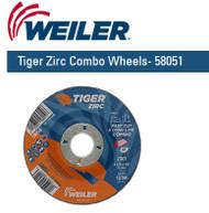 "Weiler Tiger Zirc Combo Wheels 4-1/2"" x 1/8""  25/pk  58051"