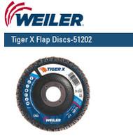 """Weiler Tiger X Flap Discs 4-1/2"""" x 7/8""""  Grit/60  10/pk 51202"""