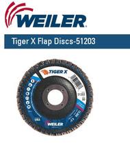 """Weiler Tiger X Flap Discs 4-1/2"""" x 7/8""""  Grit/80  10/pk 51203"""