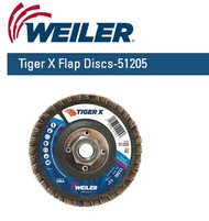 "Weiler Tiger X Flap Discs 4-1/2"" x 5/8""-11 Nut  Grit/40  10/pk 51205"