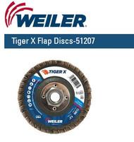 "Weiler Tiger X Flap Discs 4-1/2"" x 5/8""-11 Nut  Grit/80  10/pk 51207"
