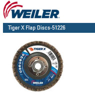 "Weiler Tiger X Flap Discs 4-1/2"" x 5/8""-11 nut  Grit/40  10/pk 51226"