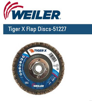 "Weiler Tiger X Flap Discs 4-1/2"" x 5/8""-11 nut  Grit/60  10/pk 51227"