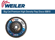 "Weiler Big Cat Premium High Density Flap Discs  4-1/2"" x 5/8""-11 UNC  Grit/80 10/pk 50810"