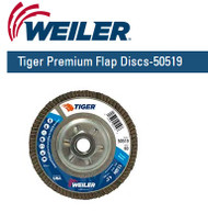 "Weiler Tiger Premium Angled Flap Discs  4-1/2"" x 5/8""-11 nut Grit/60 10/pk 50519"
