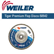 "Weiler Tiger Premium Angled Flap Discs  7"" x 5/8""-11 nut Grit/36 10/pk 50542"