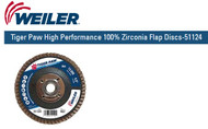 "Weiler Tiger Paw High Performance 100% Zirconia Flap Discs-51124  4-1/2"" x 5/8""-11 nut 40/G 10/pk"