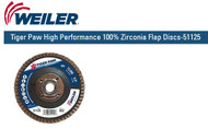 "Weiler Tiger Paw High Performance 100% Zirconia Flap Discs-51125  4-1/2"" x 5/8""-11 nut 60/G 10/pk"