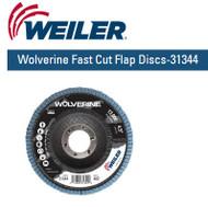 "Weiler Wolverine Fast Cut Flap Discs-31344  4-1/2"" x 7/8"" 40/g 10/pk"