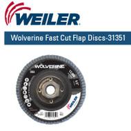 "Weiler Wolverine Fast Cut Flap Discs-31351  4-1/2"" x 5/8""-11 nut 60/g 10/pk"
