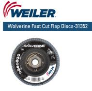 "Weiler Wolverine Fast Cut Flap Discs-31352  4-1/2"" x 5/8""-11 nut 80/g 10/pk"