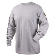 Black Stallion TF2510-GY NFPA 2112 & NFPA70E 7 oz. FR Cotton Knit Long-Sleeve T-Shirt, GRAY