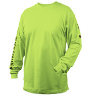 Black Stallion TF2510-LM NFPA 2112 & NFPA70E 7 oz. FR Cotton Knit Long-Sleeve T-Shirt, LIME