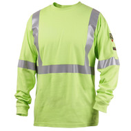 Black Stallion TF2511-LM NFPA 2112 FR Cotton Knit LS T-Shirt, Lime with Reflective Tape