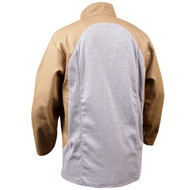Black Stallion JF1625-TG Stretch-Back FR Cotton Welding Jacket, Tan with Gray Stretch Panel