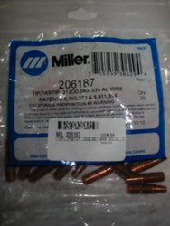 MILLER 206187 CONTACT TIP .312OD  .040  .035 AL - QTY25