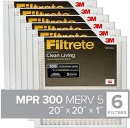"3M Filtrete 20""x20""x1"", AC Furnace Air Filter, MPR 300, Clean Living Basic Dust, 6-Pack"