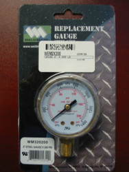 WELDMARK REPLACEMENT PRESSURE GAUGE - 200PSI - 2.0""