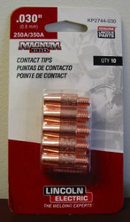 """Lincoln Electric Magnum Pro Contact Tips .030"""" 250A/350A - qty10 - KP2744-030"""
