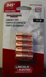 """Lincoln Electric Magnum Pro Contact Tips .045"""" 250A/350A - qty10 - KP2744-045"""