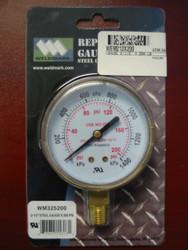 """WELDMARK REPLACEMENT PRESSURE GAUGE - 200PSI - 2.5"""""""