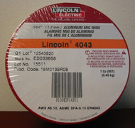"Lincoln Electric 4043 Aluminum MIG Wire 3/64"" (1.2mm) - 1 lb spl - ED033658"