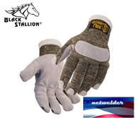REVCO CUT-RESISTANT GLOVES with LEATHER REINFORCED PALM - SK5-LP - LARGE